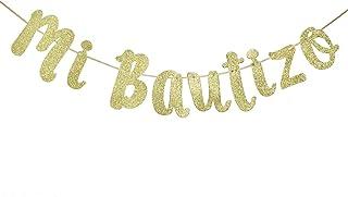 Mi Bautizo Glitter Gold Banner, Baby Baptism, Christening, First Communion Decorations (Gold)