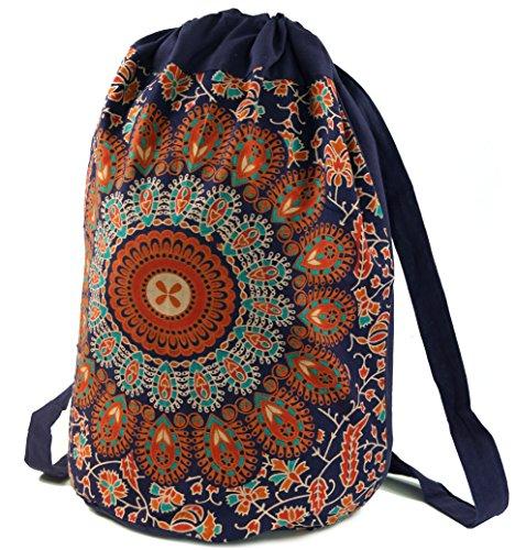 Guru-Shop Turnbeutel Rucksack, Indischer Mandala Schulterbeutel, Turnbeutel - Orange, Herren/Damen, Baumwolle, Size:One Size, 50x40x30 cm, Ausgefallene Stofftasche