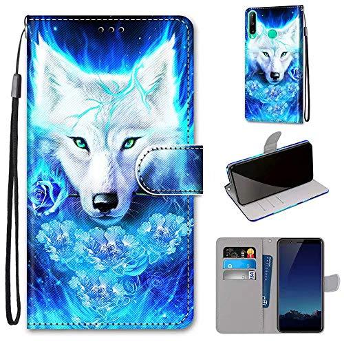 Miagon Flip PU Leder Schutzhülle für Huawei P40 Lite E/Y7P,Bunt Muster Hülle Brieftasche Case Cover Ständer mit Kartenfächer Trageschlaufe,Rose Wolf