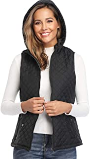 Women's Padded Vest Hoodie Full Zip Up Lightweight Quilted Gilets Outwear Sleeveless Jackets