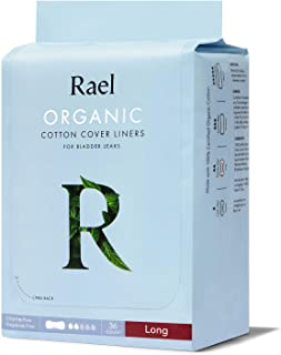 Rael Organic Incontinence Liners Long - Organic Bladder Control Liners, 4-Layer Core Protection with Leak Guard Technology...