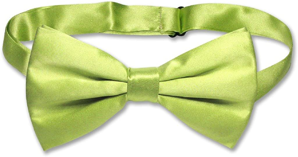 100% SILK BOWTIE Solid YELLOW GREEN Color Men's Bow Tie for Tuxedo or Suit