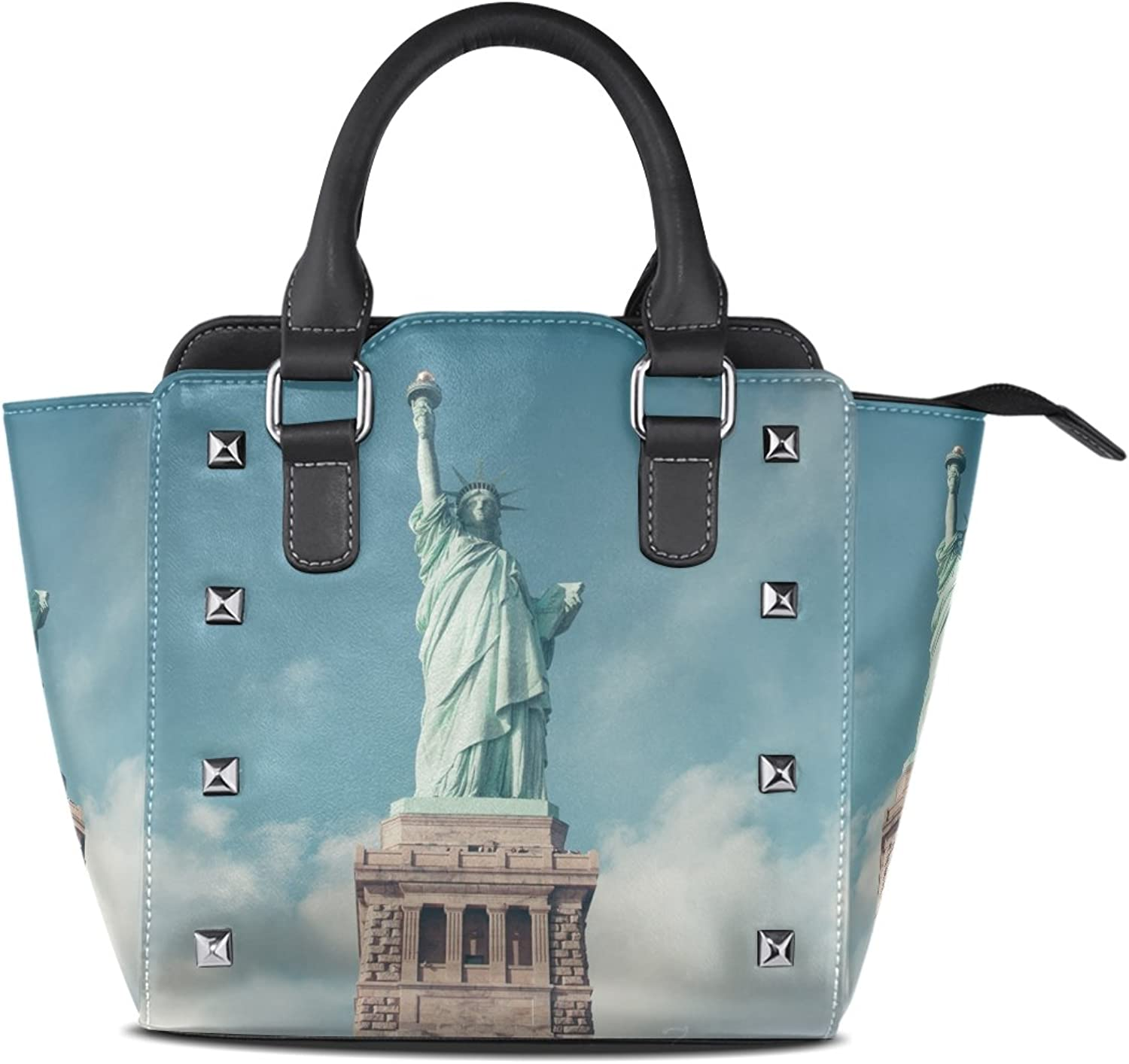 Sunlome Freedom Statue of Liberty Print Women's Leather Tote Shoulder Bags Handbags