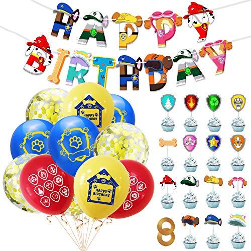 Yisscen Globos de decoración de cumpleaños para niños, Globos de Látex Paw Dog Patrol Cumpleaño Fiestas Decorar, pancarta de feliz cumpleaños, Decoración para Fiestas de Cumpleaños