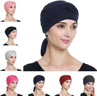 Alnorm Chemo Turban Caps Stretch Hair Wraps for Women Cancer Headwear Navy