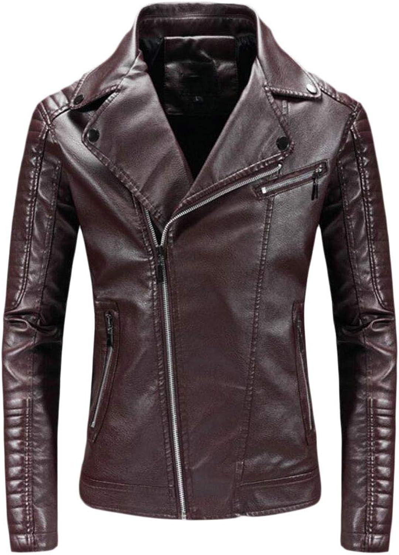 dab3bddc0862 Maweisong Lapel Oblique Zipper PU Leather Casual Moto Biker Coat Men's  lcnrqb1605-New Clothing