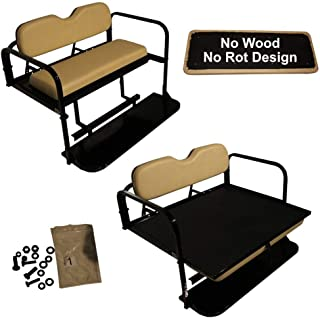 Performance Plus Carts Club Car DS Golf Cart Rear Flip Folding Back Seat Kit, 2000.5 and Up - All Factory Colors (Buff/Beige Cushions)