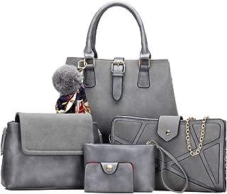 5 Piece Ladies' Shoulder Bag Diagonal Cross Bag Handbag Satchels Top Handle Shoulder Crossbody Bags (Color : Grey, Size : L)
