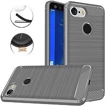 Google Pixel 3 Case, Dretal Carbon Fiber Shock Resistant Brushed Texture Soft TPU Phone case Anti-Fingerprint Flexible Full-Body Protective Cover for Google Pixel 3 (Gray)
