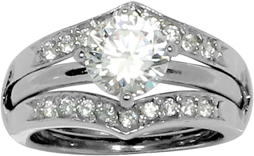 Glamour Rings Round Prong Set CZ Engagement Style Ring in Ring Guard with 20 Small Accent Stones in Stainless Steel