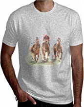 Short Sleeve T-Shirt Men Graphic T Shirts Galloping Ancient War Horse Animal Gra