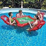Aegilmc 4 Personas Inflables Isla Lago Flotador, Pool Air Lounge, Tarjetas Juego Mesa Anillo Natación Accesorios Cama Flotante Cerveza Tabla Inflar