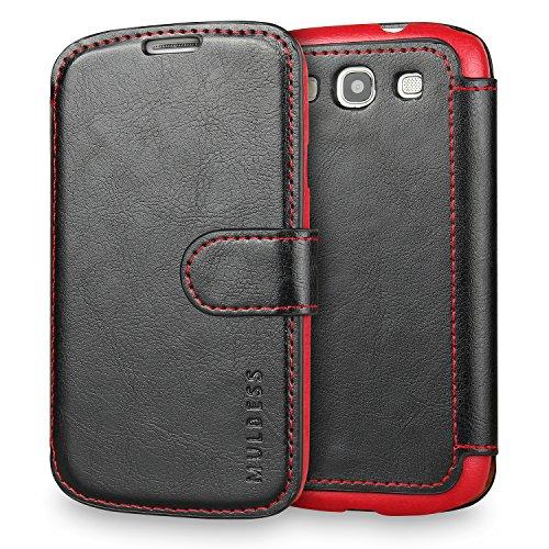 Mulbess Funda Samsung Galaxy S3 [Libro Caso Cubierta] [En Capas de Billetera Cuero] con Tapa Magnética Carcasa para Samsung Galaxy S3 / S3 Neo Case, Negro