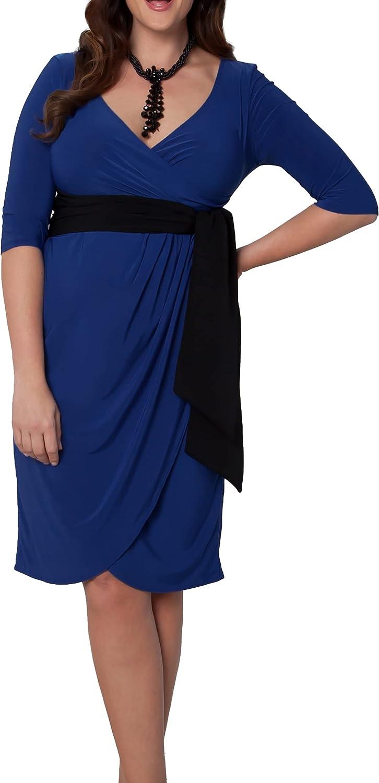 Kiyonna Women's Plus Size Printed Harlow Faux Wrap Dress