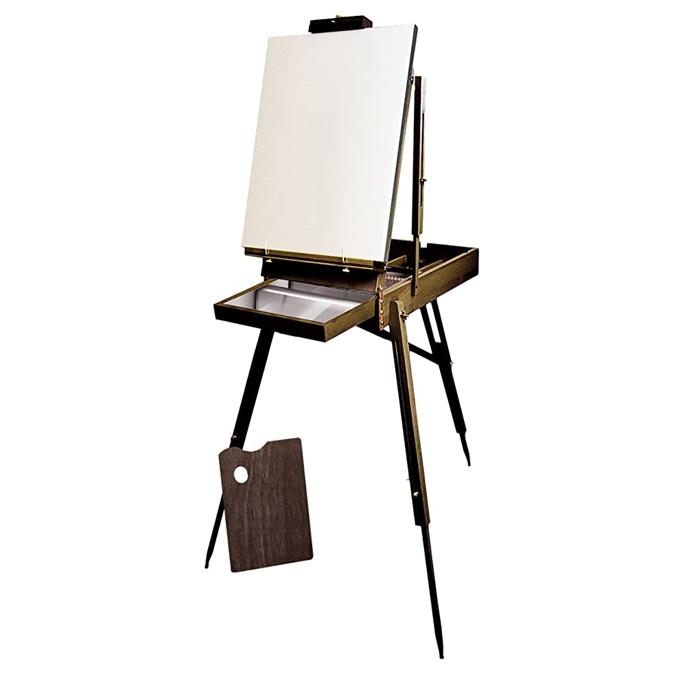 KINGART French Sketchbox Easel W/ Metal Draw Liner, Espresso Finish