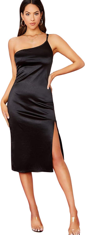 Romwe Women's Elegant One Shoulder Sleeveless Split Hem Satin Party Cocktail Midi Dress