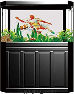 baihemiya sticker Aquarium Decoration Background,Sports Decor,Soccer Player Kicks The Ball Competitions Paint Splashes Speed Boots Art,Photography Backdrop for Photo Props Room,W48.03 xH19.69