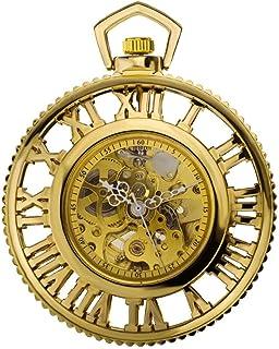 JIAN,Pocket watch Monde Romain Engins De Machines À Vapeur Animée Automatique Montre Mécanique Entourant La Poche Rétro Mo...