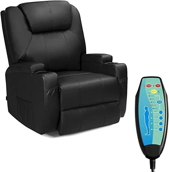 Tangkula Electric Massage Recliner Chair 360 Degree Swivel Heated Chair Rocking Massage Chair Adjustable Accent Armchair Modern Vibrating Sofa Padded Cushion Home Theater Seating Leisure Lounge
