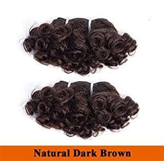 Bouncy Curly Hair Bundles Brazilian Hair Remy Human Hair Weave Bundles Hair Extensions Double Drawn Weft Natural Color Natural Dark Brown 8inchs X 6pcs