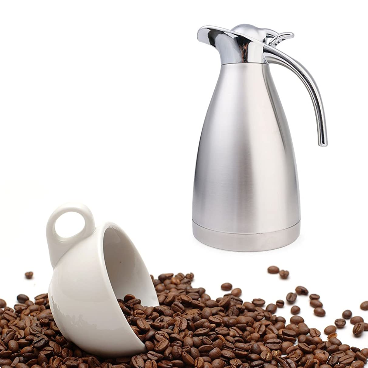 Coffee Thermal Carafe Stainless Steel Water Pitcher with Lid Stainless Steel Jug Coffee Plunger Cafetiere Insulated Pot by NYGY (1.5L, Silver)