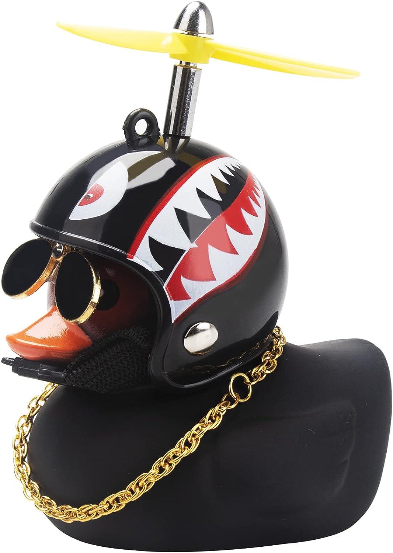 wonuu Rubber Duck Car Decorations Black Duck Car Dashboard Ornaments with Propeller Helmet