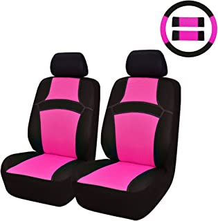 NEW ARRIVAL- CAR PASS RAINBOW Universal Fit Car Seat Cover -100% Breathable With 5mm Composite Sponge Inside,Airbag Compatible (9PCS, Rose Pink)