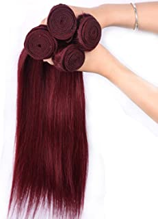 Pre-colored Peruvian Hair 4 Bundles 99j Burgundy Non-remy Human Hair Extensions Wine,8 8 10 12