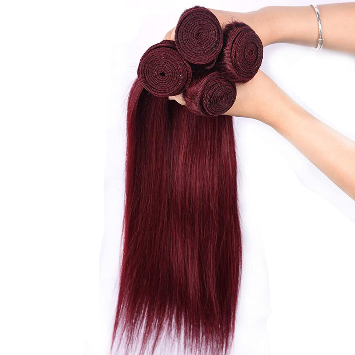 Pre-colored Peruvian Hair 4 Bundles 99j Burgundy Non-remy Human Hair Extensions Wine,10 10 10 10