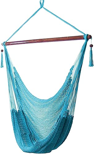 2021 Sunnydaze discount Hanging Rope Hammock Chair Swing - Caribbean Style Extra Large Hanging outlet sale Chair for Backyard & Patio - Sky Blue online
