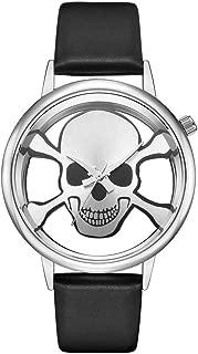 Creative Unique Designer Hollow Skeleton Skull Unisex Wrist Watches, Funky Leather Strap Men Women Watch Christmas Gifts