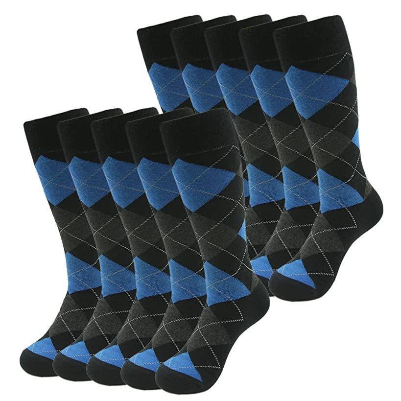 Funky Casual Dress Crew Socks, SUTTOS Men's 10 Pairs Cotton Argyle Diamond Striped Long Tube Gift Sock