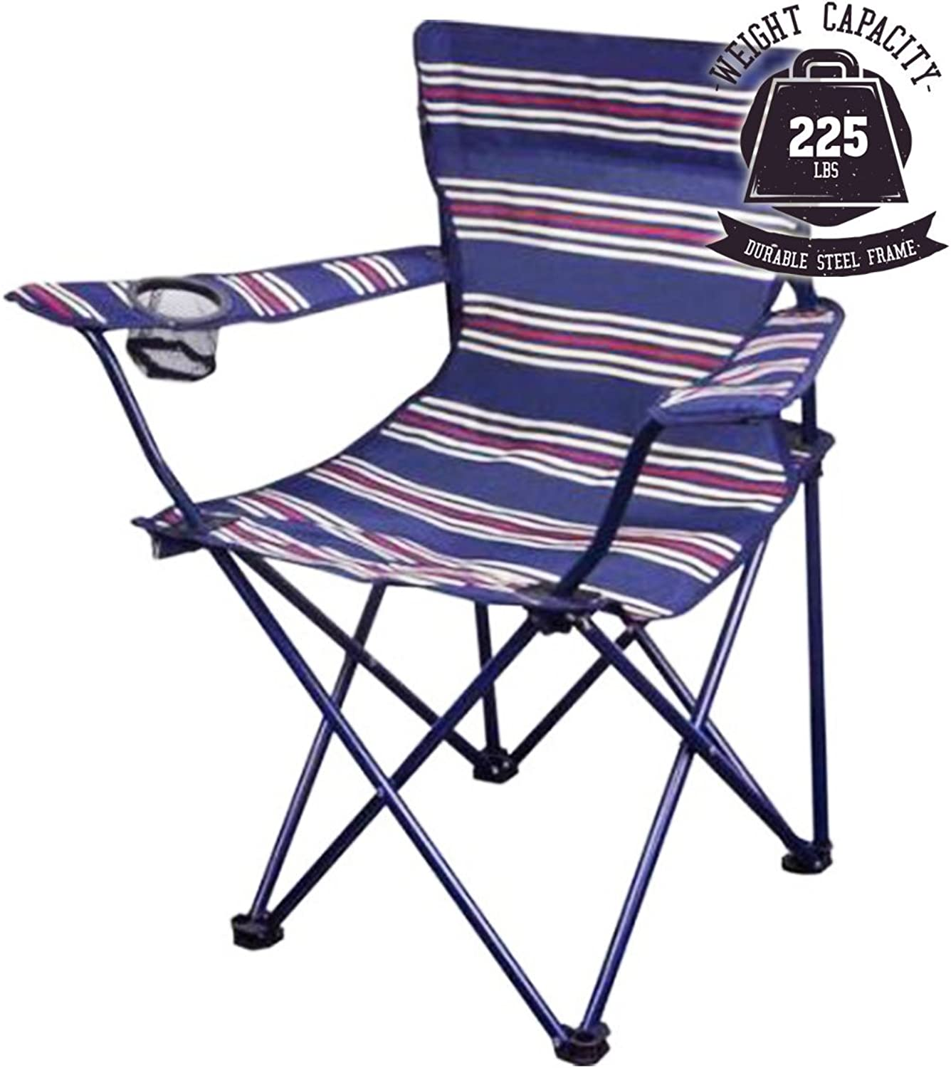 OZARK Trail Youth Folding Chair for All Outdoor Activities blueee w Stripes