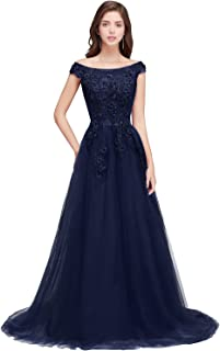 Women's Lace Appliques Cap Sleeve A Line Long Evening Prom Gown