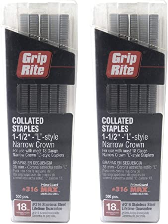 """2 Grip Rite Collated Staples 18 ga Staples Style L 38mm Narrow crown 1-1//2"""""""