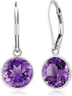 Gem Stone King 925 Sterling Silver Purple Amethyst Leverback Dangle Earrings For Women 8.00 Ctw Beautiful Gemstone Birthstone