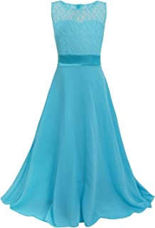 Big Girls Chiffon Lace Party Wedding Bridesmaid Dress Junior Maxi Dance Ball Gown
