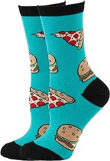 NEVSNEV Women Colorful Patterned Fashion Crew Socks canada Pizza PineappleEmoji (Pizza Burgers)