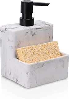 ZCCZ Soap Dispenser with Sponge Holder, Marble Look Liquid Hand and Dish Soap Dispenser Pump Bottle and Sponge Holder 2 in...
