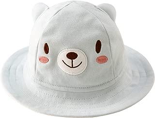 Baby Sun Hat Cute Cotton Bucket Hat with Wide Brim 0-18 Months