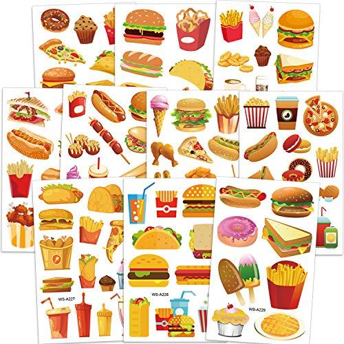 Qpout Fast Food Tatuajes temporales para niños, hamburguesa con helado papas fritas donut niños pegatinas de tatuaje para niñas niños fiesta de cumpleaños fiesta de verano bolsas de regalo regalos