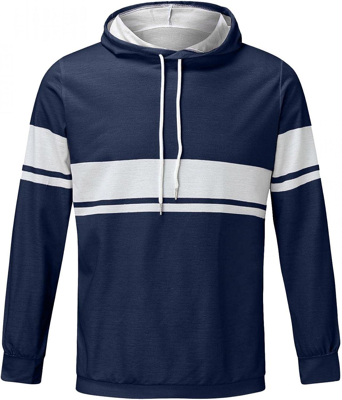 XUNFUN Men's Hoodies Striped Print Pullover Regular Fit Simple Long Sleeve Casual Cozy Sport Sweatshirts Outwear