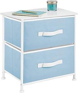 mDesign commode 2 tiroirs – table de chevet en tissu, métal et MDF – table de nuit décorative pour la chambre à coucher, é...
