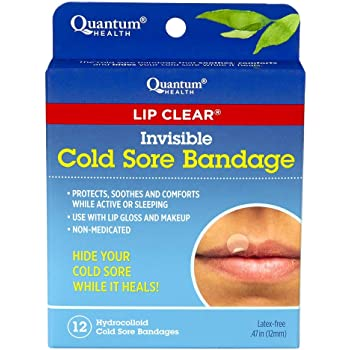 Quantum Health Lip Clear Invisible Cold Sore Bandage, To Help Soothe, Protect, and Prevent Contamination - 12 Count