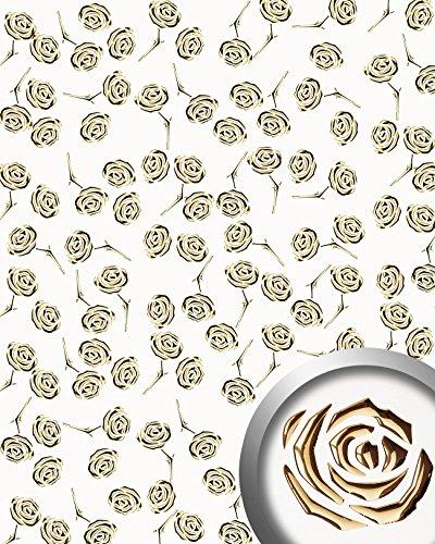 Wandbekleding paneel 3D WallFace 16444 3D ROSE Muurbekleding voor balie kantoor winkel rozen decor goud wit 2,60 m2