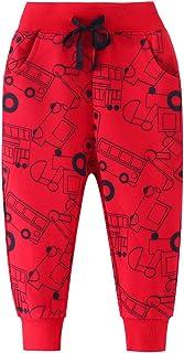 EULLA Pantalones de chándal de algodón para niños, diseño de dinosaurios, 1-7 años