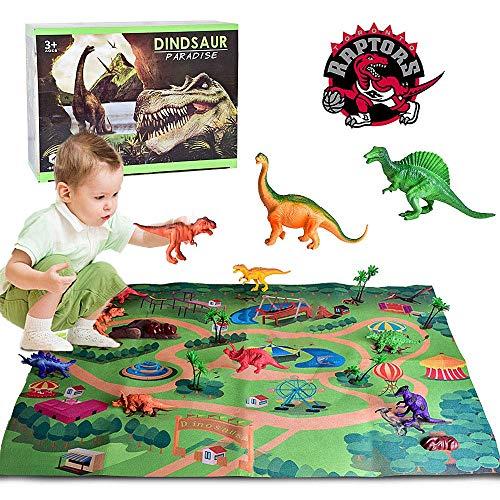SAILFISH Dinosaur Toys, Grande Alfombra de Juego de 26.7 x 39.4 Pulgadas con 9 Dinosaurios de Aspecto Realista Que Incluyen T-Rex, Triceratops, Velociraptor