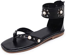 Feilongzaitianba Summer Women Pearl Rivets Sandals Open Toe Flat with Sandals Casual Plus Size Shoes Xwa1138-5