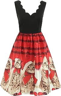 CHARMMA Women's Christmas Scalloped V Neck Sleeveless Music Note and Cat Print Dress