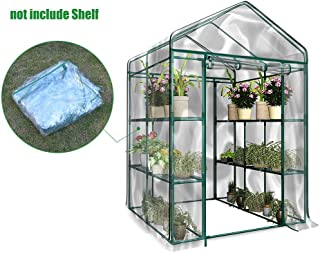 Waterproof Greenhouse Cover, Plastic Replacement Garden Cover, Portable PVC Plant Greenhouse Cover with Roll-up Zipper Door, Cover Only, No Iron Stand, No Flower Pot